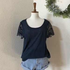 The Limited • Navy Blue lace Short sleeve Top